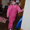 Hallie getting her ski gear on.