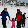Daddy, Hallie and Papa ready to get on the chair lift