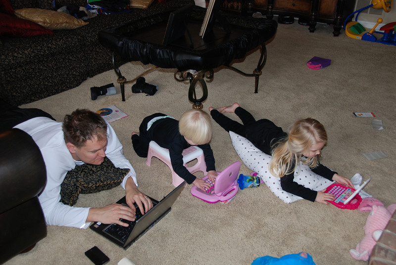 Everyone set up office with daddy for our snow day at home!