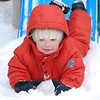 The baby slide and the big slide were the kids favorites in the snow.