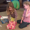 Opening birthday gifts.
