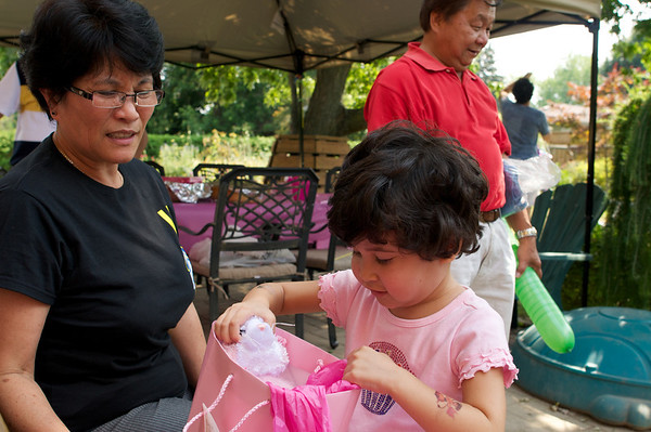 Opening birthday presents with Tita Eve