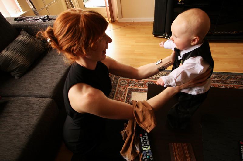<b>19 Dec 2010</b> Megan and Finn, getting ready for the wedding