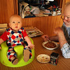 <b>27 Dec 2010</b> The Norwegian curling team overalls are modelled in the Bumbo at the breakfast table