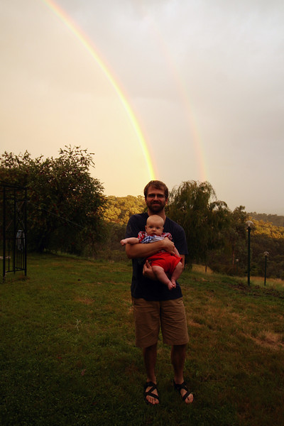 <b>17 Dec 2010</b> Alex, Finn, and the double rainbow out at Eltham