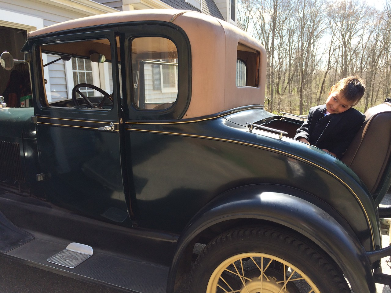 Miller rode in the rumble seat to church.