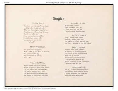 Bloomfield High School 1912 Yearbook Jingles- MyHeritage
