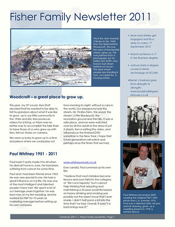 Christmas 2011 Fisher family newsletter Christmas