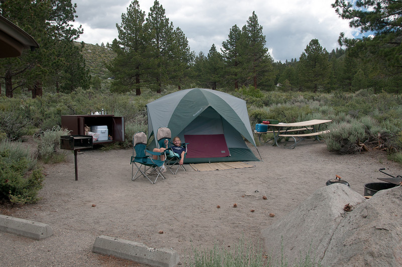 Relaxing at camp mid-day to grab some lunch