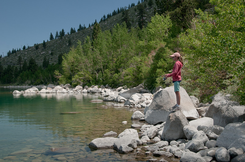 Trying to entice a trout onto her hook.  This morning the fish won and we came away empty handed.
