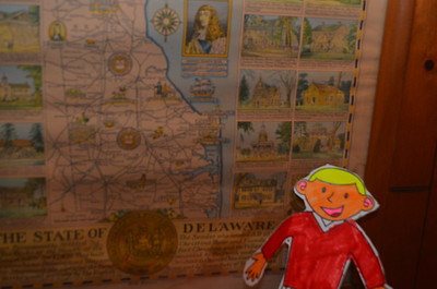April 9, 2013:  I arrived at the house of Roscoe & Megan Leslie.    They live in Delaware.  They showed me a nice map.  I learned that Delaware was the first state and is the second smallest state.  But it is still bigger than me!  The weather was sunny and in the 70s.