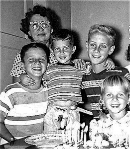Fleischman Kids with Gram - Circa 1955
