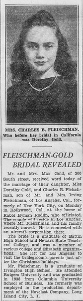 Dorothy Fleischman Marriage Announcement - 1941