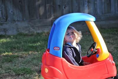 Driving his Car
