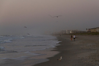 It's early Monday morning on Cocoa Beach just before sunrise.