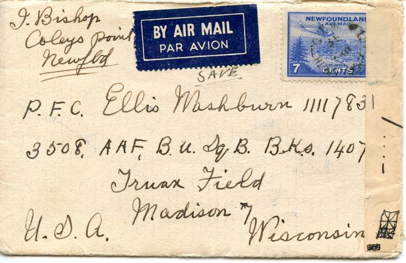 1945 April letter Isaac bixhop to Ellis Washburn 1