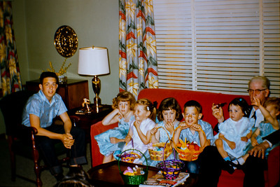Easter 1956 or 1957.  L to R, John Ford, Becky Collom, Dee Ann Ford, Debbie Collom, Marty Ford, Jancy Ford, Sheryl Collom, and Albert Ford.  (Albert Ford, son of Aaron Ford, father to Charles C Ford Sr.)