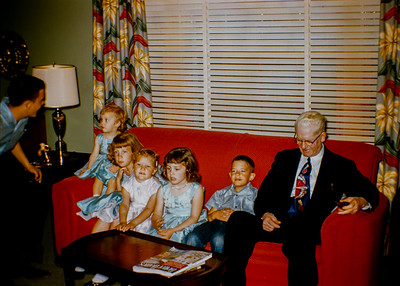 1956 or 1957.  L to R, John Ford, Sheryl Collom, Becky Collom, Dee Ann Ford, Debby Collom, Marty Ford, Albert Ford.  (Great Grandpa, Albert Ford, son of Aaron Ford, father to Charles Clinton Ford Sr.)