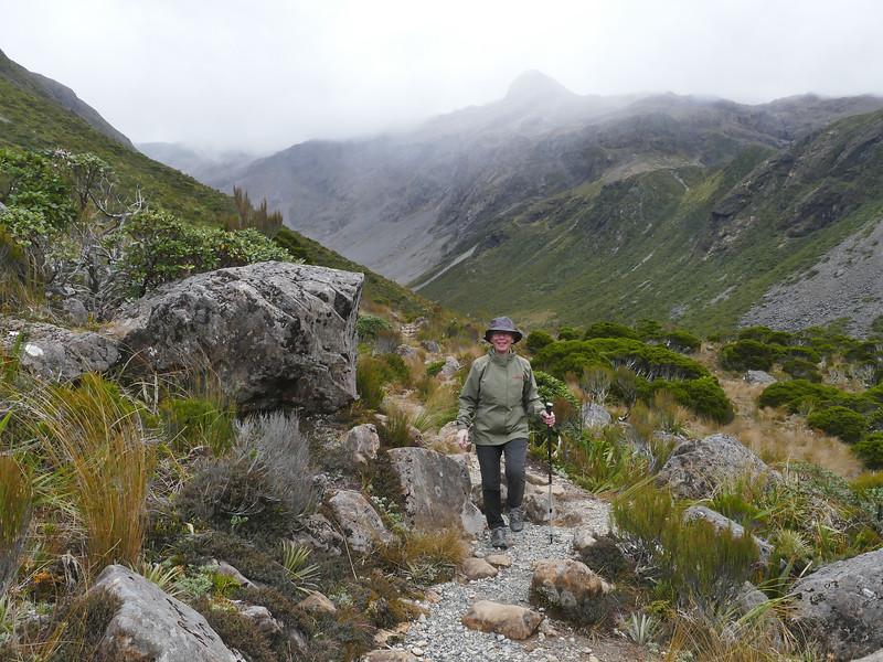 Marita Jowett in Upper Otira Valley