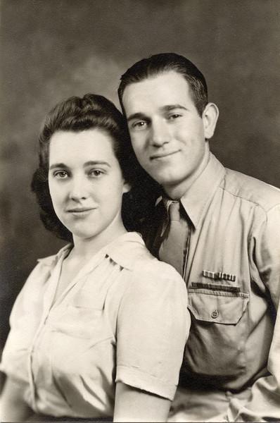 Bettyann Forster Laggart & Henry George Laggart, July 25, 1944, Wedding Day