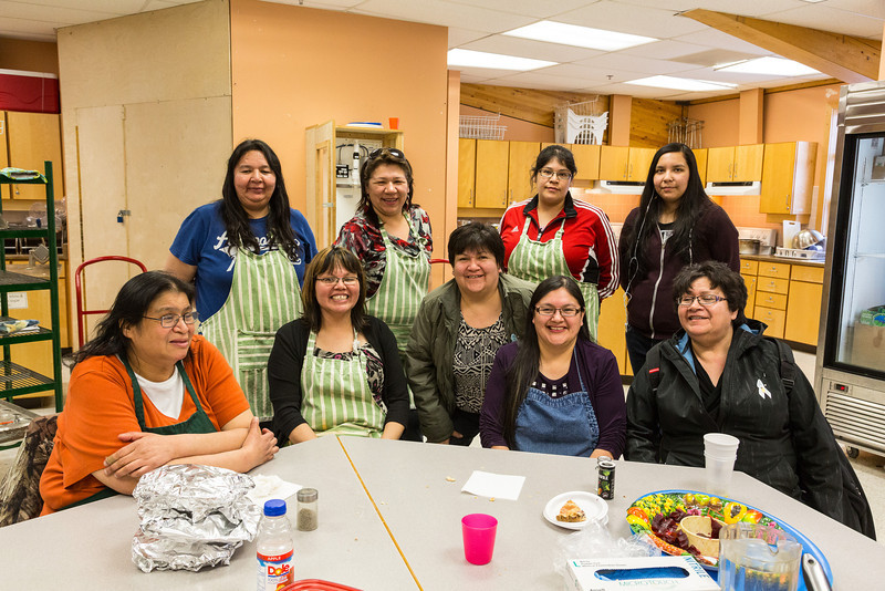 Feast in honour of Micheline Edwards. Cooks: Betty Wheesk, Mary Sutherland, , Lisa Wheesk, Maddie Wheesk, Jackie Kataquapit, Claudette Solomon, Annabella Sutherland, Gisele Rickard.
