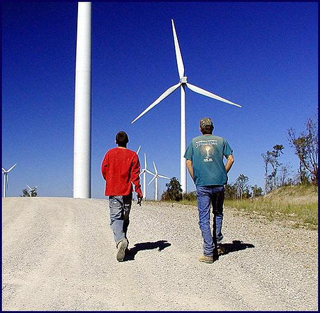 Jared & Kenny walking up to see the Wind Mills.