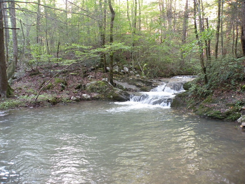 Profile view of the cascade at Sardine Can. The flooding has really cleared out the debris from the swimming hole