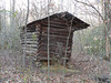 Old structure in the woods. Must be a log corn crib or animal pen.