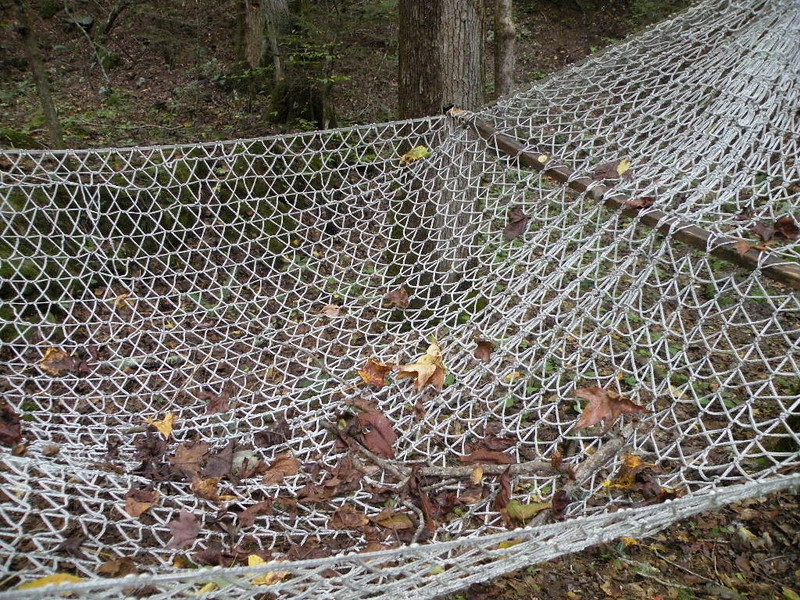 Leaves and twigs in the hammock.. a sign of Fall