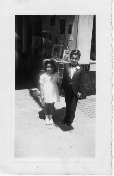 Flower Girl (unknown); Ring Boy Frank Buono Jr. at Sister Conjet's<br /> wedding 4/20/41