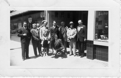 Back Row, Far Right: Frank Buono, Pasquale Tancorra, Unknown, Danny Tancorra, Nick Buono, Unknown (behind), Tobin, Rocco Parmagiani; Front Row: Chelee Buono, young man on his knees is Vince Dambrose; photo taken 4/20/41
