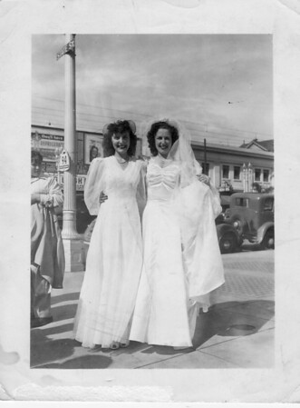 Teresa (Buono) De Santi and Conjet (Buono) Marino on Conjet's wedding day on 4/20/1941. Breathtaking smiles...
