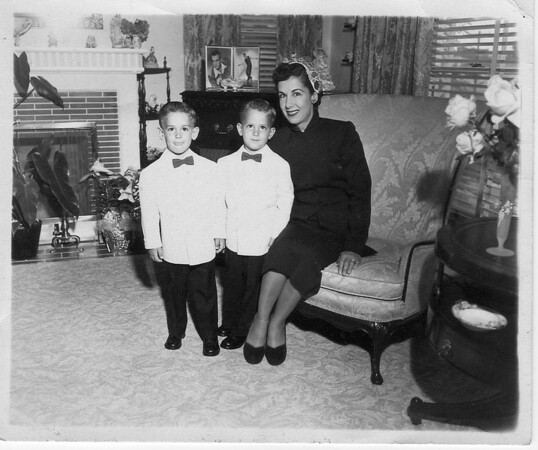 Joey and Frankie with Mother Conjet at the Zola Street House in Point Loma; the boys were ring bearers in the Frankie Buono Jr and Mae (Garrett) Buono wedding on 6/19/1953