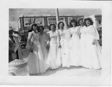 Conjet Buono Marino wedding. Left to Right: Sarah Adamo, Unknown, Sarah Milazzo, Conjet (Buono) Marino, Teresa (Buono) De Santi, Unknown, Unknown on 4/20/1941