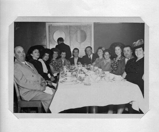 Left to Right: Pasquale (Pat) Buono's 18th birthday, 2/13/1948, at the Mississippi Room: Frank Buono, Marcella Parmagiani, Conjet Marino, Rosie Buono, Bea Parmagiani, Pat Buono, Carl Marino, Lena Buono, Frankie Buono Jr., Teresa De Santi, Rocco Parmagiani, Julia Buono.
