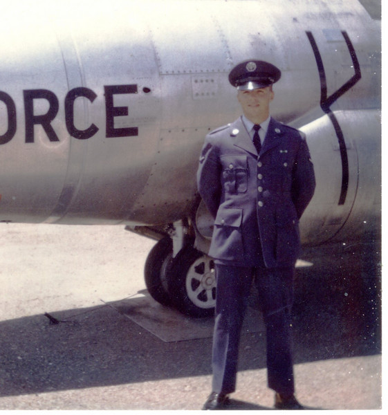 Frank beside T-33 Jet Trainer<br /> Amarillo AFB, Texas<br /> April 1966