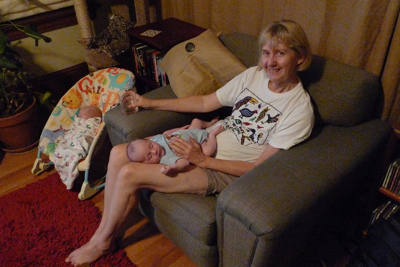 Grandma Ellen Holding Hulk While Thor Rests Nearby