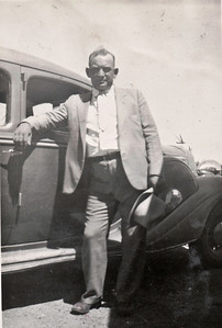 Alfred Washington Murr with his 1935 Hudson. Around 1937.