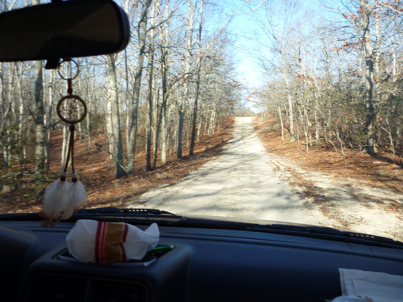 The road less travelled, dirt D, as viewed through Trevor's dreamcatcher (left by the 82 year old previous owner).