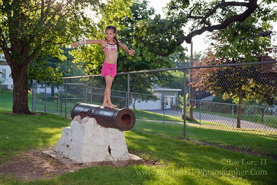 Freja Lutz always has to play on the cannon outside the Mt Horeb pool.