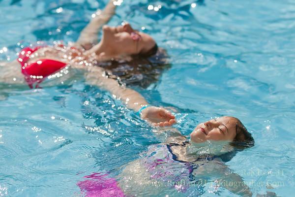 Teri & Freja Lutz enjoy the Mt Horeb pool.