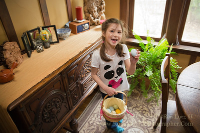 The Easter Bunny seems to sneak into our home, takes the eggs the kid colored the day before, and then hides them all over the house! Freja loves to hunt for them, collecting them in her little basket.