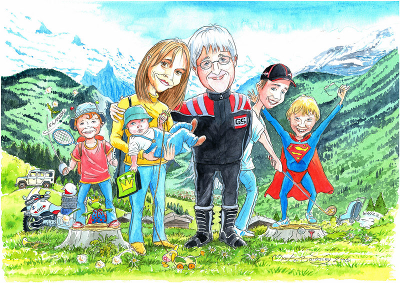 The Family,  Kerstins birthday present from me this year was a  commsioned caricature by Mark Bardsley of llanfyllin Wales UK.