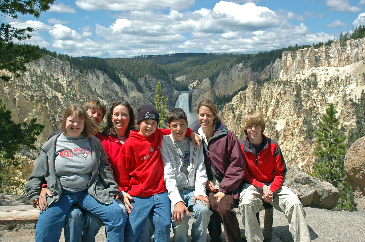 From Left to Right: My Daughter Lauren on my lap, My Wife Karla, My Son Nathan, My Nephew Adam, Sister in law Elly and their friend Will. At Yellowstone National Park Lower Falls.