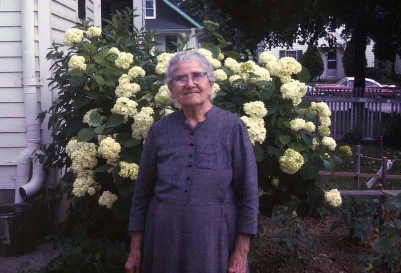Grandma Henke in front of her house in Waterloo in1966. She was 89 years old.