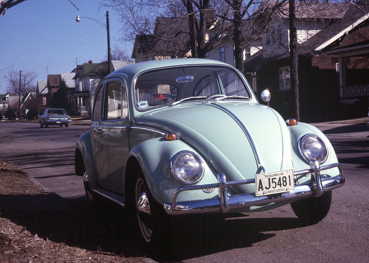 The 1965 VW Beetle was bought new in Decatur, Illinois. Andi still has it.