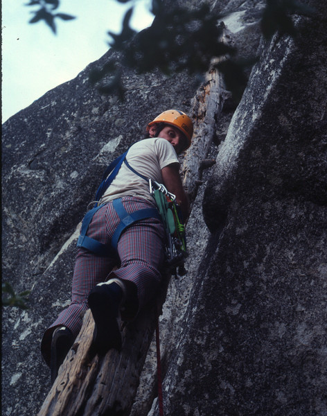 Royal Arches Climb in Yosemite - This photo was taken on an earlier climb in 1981. It shows me leading the famous rotten log pitch. It finally fell down before Andi, Marla and I did our climb in 1987. We had to use an alternate route which was harder. It was dark by the time we finished.