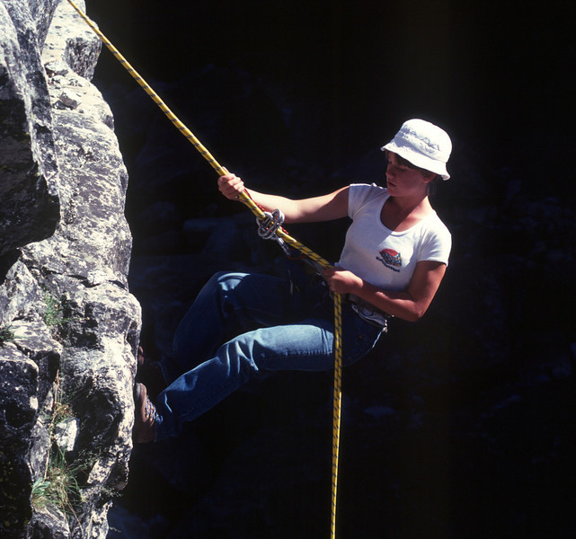 Tenaya Canyon descent in Yosemite.<br /> Andi doing one of the rappels.