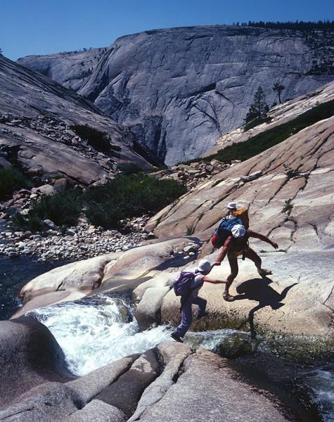 Tenaya Canyon descent in Yosemite. Andi, Marla, Lars Larson, and I did this in Sept 1983
