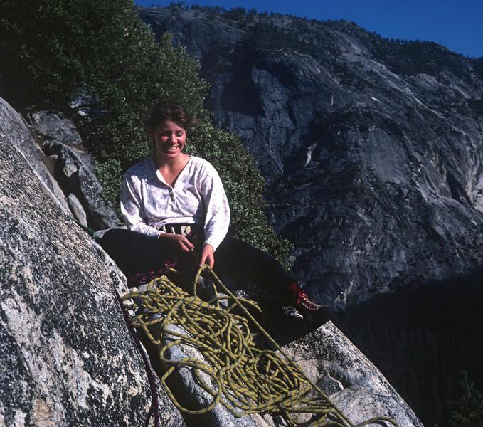 Royal Arches Climb in Yosemite - Andi belaying